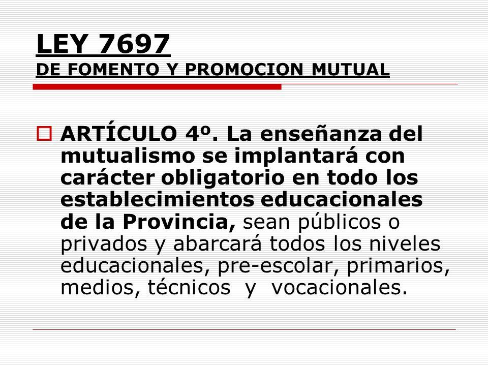 LEY 7697 DE FOMENTO Y PROMOCION MUTUAL