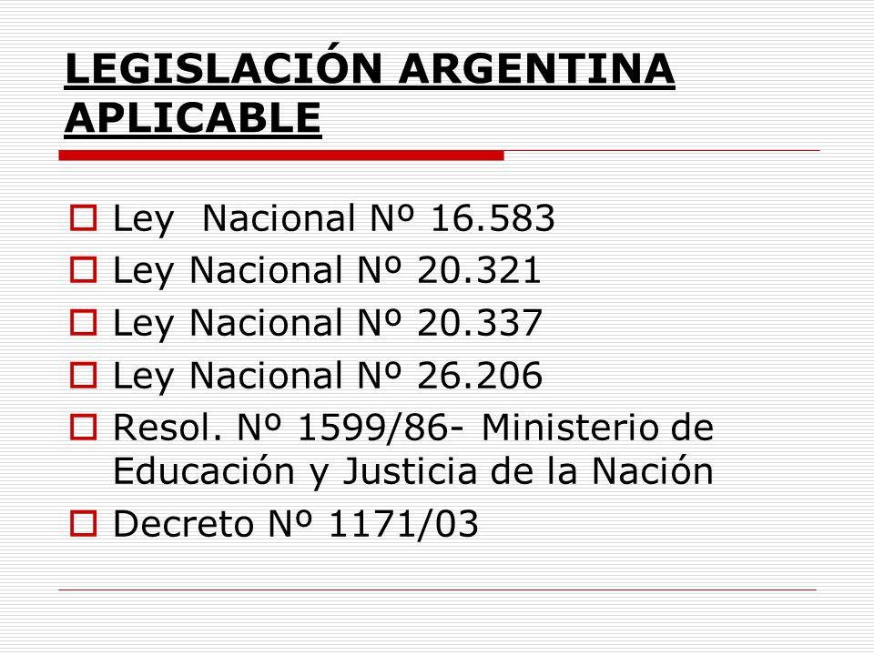 LEGISLACIÓN ARGENTINA APLICABLE