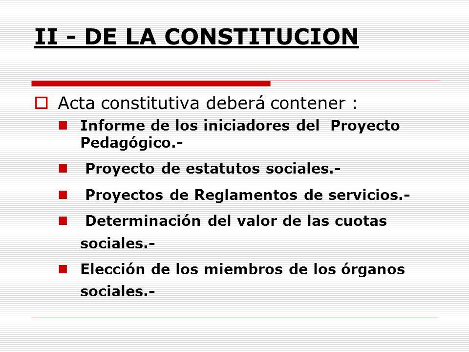 II - DE LA CONSTITUCION Acta constitutiva deberá contener :