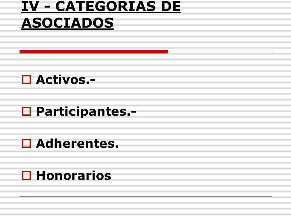 IV - CATEGORÍAS DE ASOCIADOS