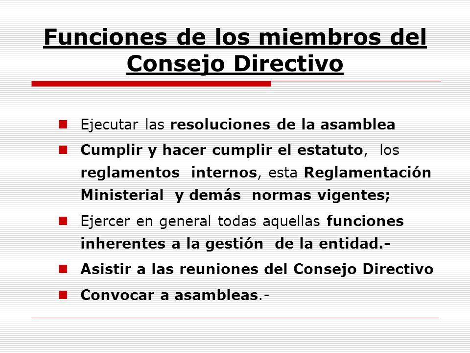 Funciones de los miembros del Consejo Directivo