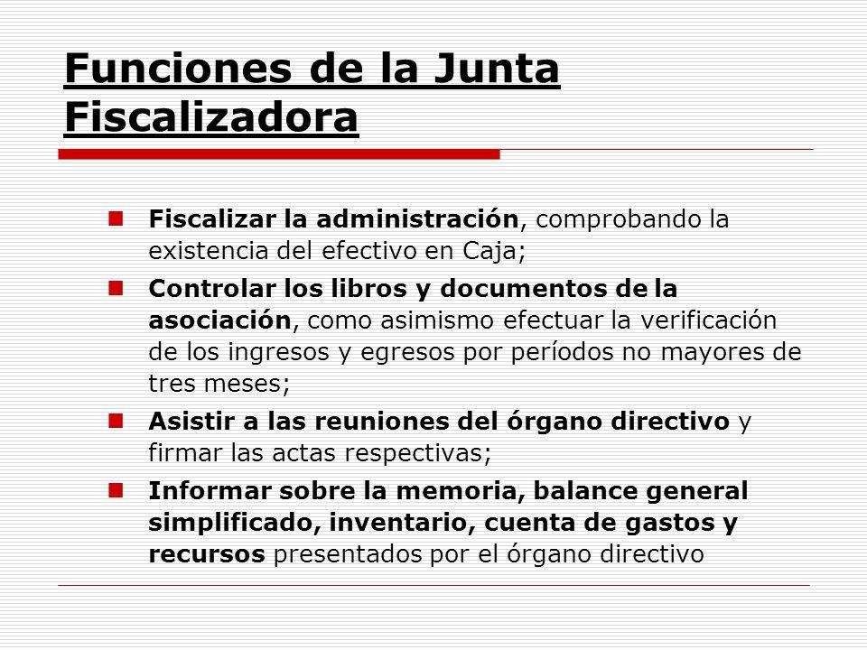 Funciones de la Junta Fiscalizadora