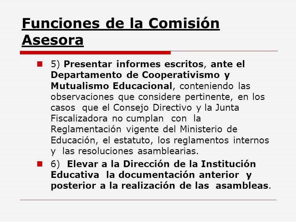 Funciones de la Comisión Asesora