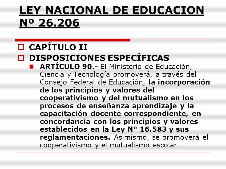 LEY NACIONAL DE EDUCACION Nº 26.206