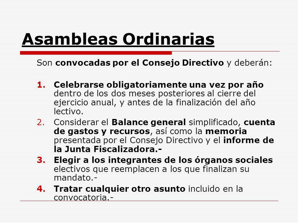 Asambleas Ordinarias Son convocadas por el Consejo Directivo y deberán: