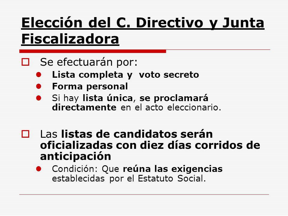 Elección del C. Directivo y Junta Fiscalizadora