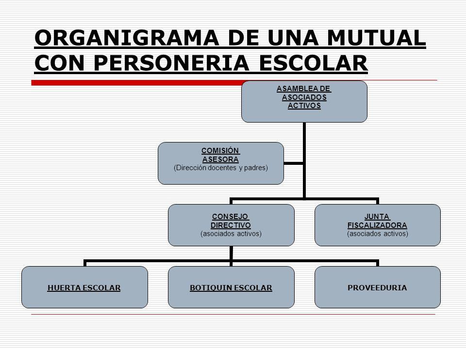 ORGANIGRAMA DE UNA MUTUAL CON PERSONERIA ESCOLAR