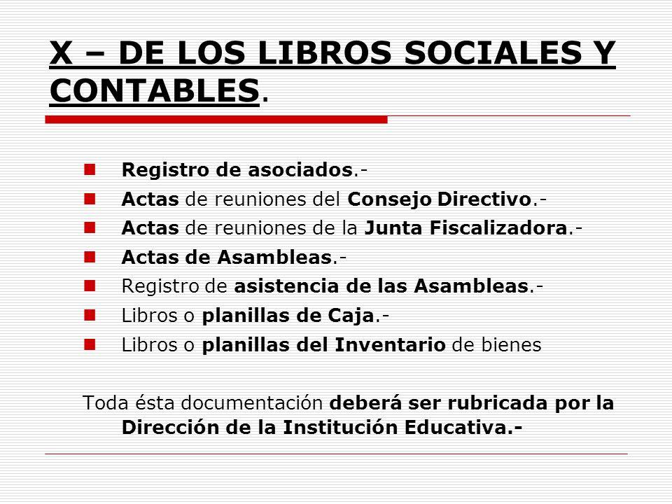 X – DE LOS LIBROS SOCIALES Y CONTABLES.