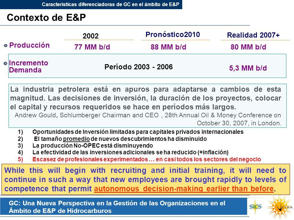 Características diferenciadoras de GC en el ámbito de E&P