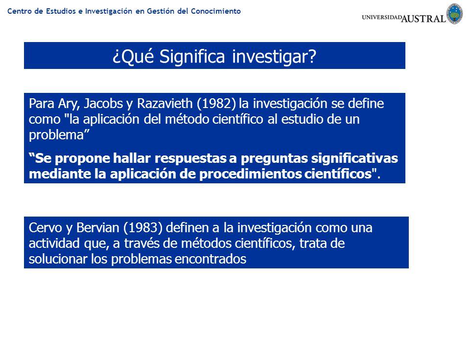 ¿Qué Significa investigar