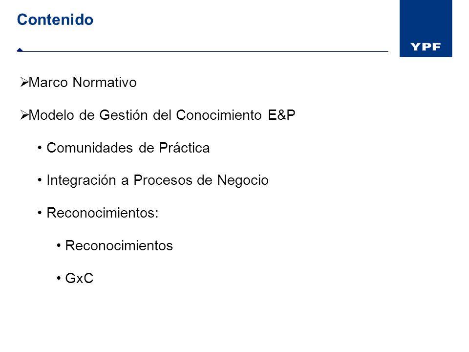 Contenido Marco Normativo Modelo de Gestión del Conocimiento E&P