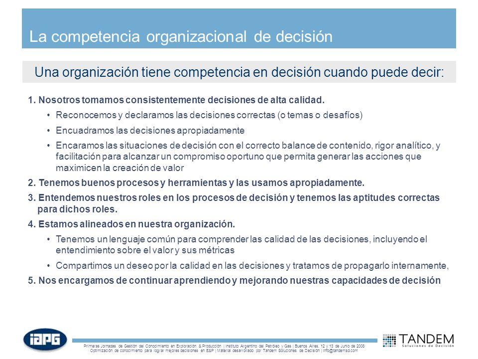La competencia organizacional de decisión