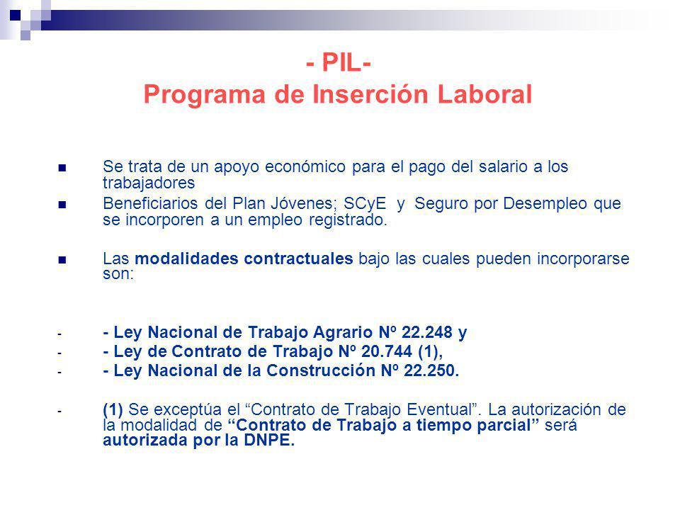 - PIL- Programa de Inserción Laboral