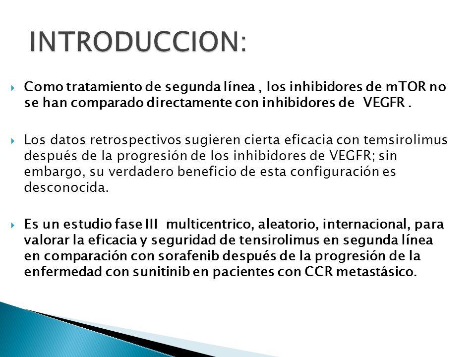 INTRODUCCION: Como tratamiento de segunda línea , los inhibidores de mTOR no se han comparado directamente con inhibidores de VEGFR .