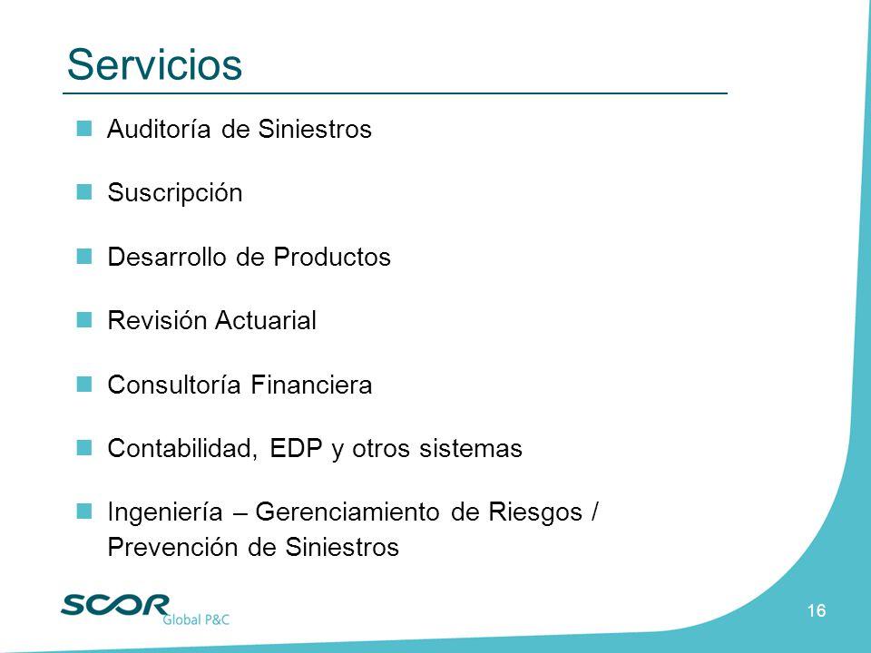 Servicios Auditoría de Siniestros Suscripción Desarrollo de Productos