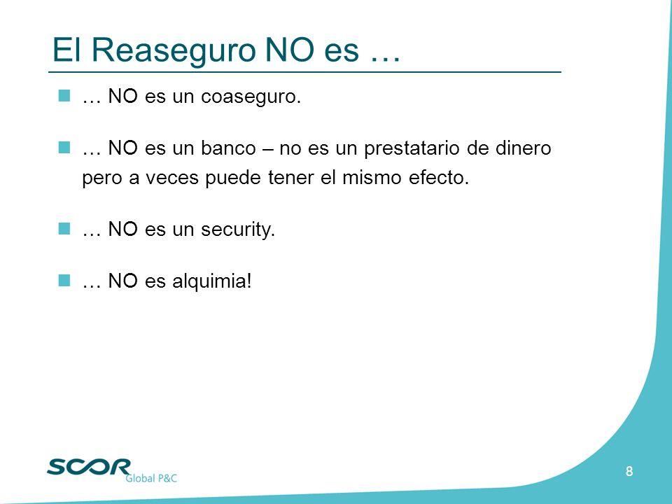 El Reaseguro NO es … … NO es un coaseguro.