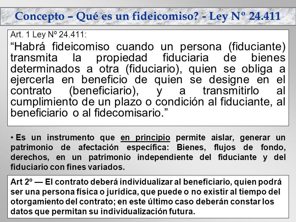 Concepto – Qué es un fideicomiso - Ley Nº 24.411