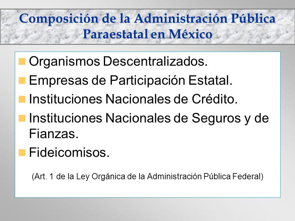 Composición de la Administración Pública Paraestatal en México