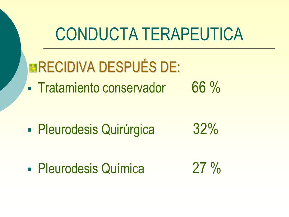 CONDUCTA TERAPEUTICA RECIDIVA DESPUÉS DE: Tratamiento conservador 66 %
