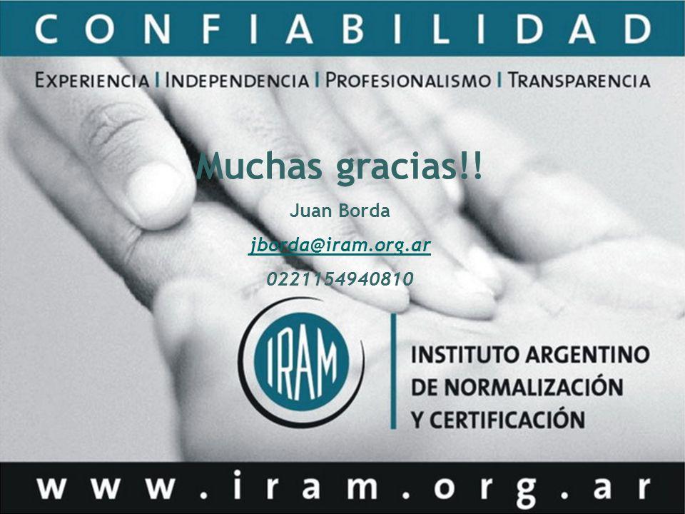 Muchas gracias!! Juan Borda jborda@iram.org.ar 0221154940810