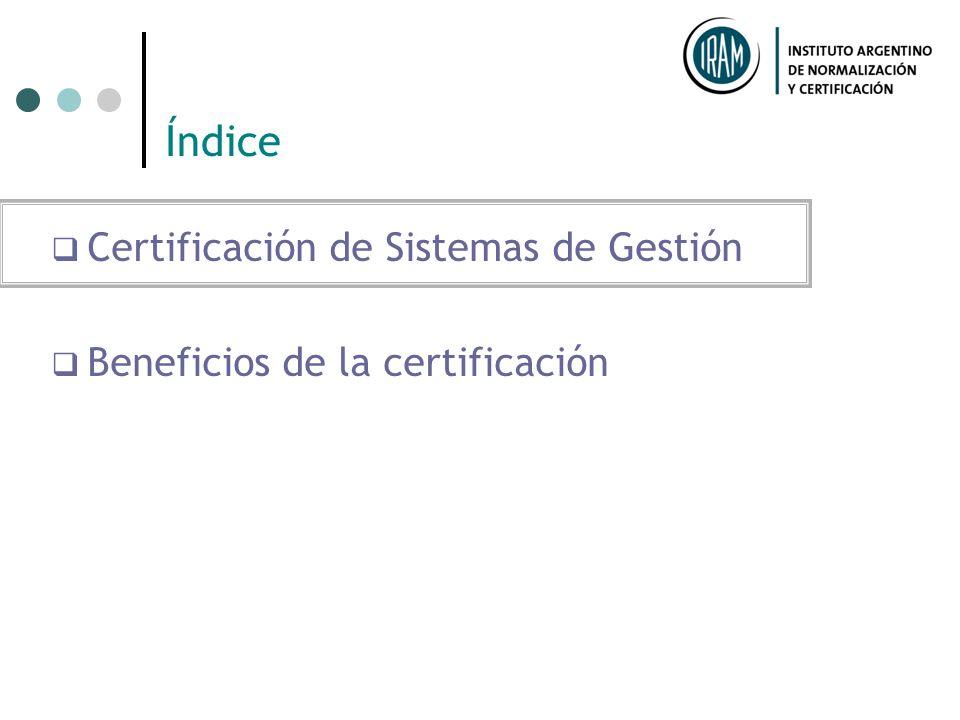 Índice Certificación de Sistemas de Gestión