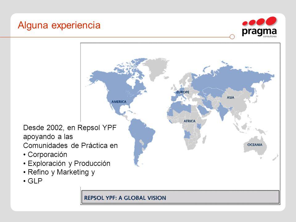 Alguna experiencia Desde 2002, en Repsol YPF apoyando a las