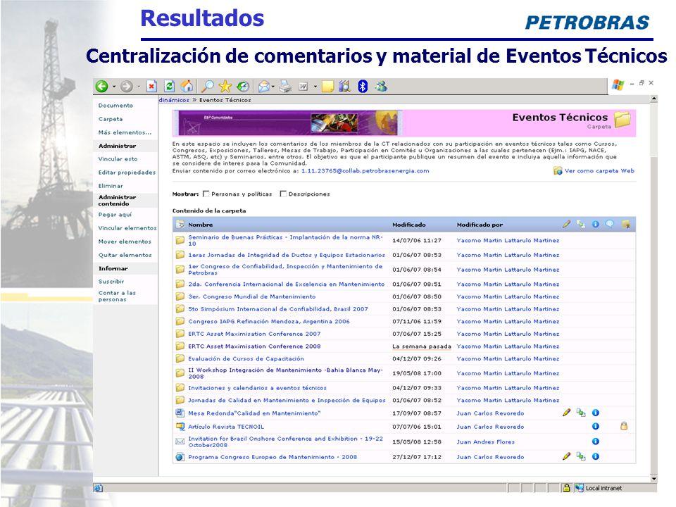 Centralización de comentarios y material de Eventos Técnicos