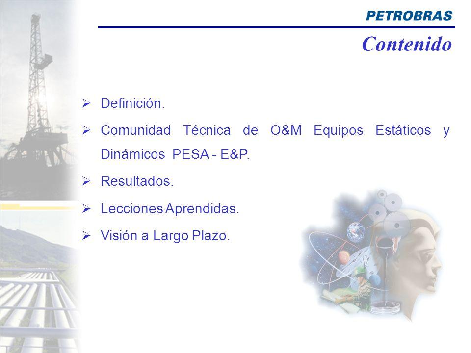 Contenido Definición. Comunidad Técnica de O&M Equipos Estáticos y Dinámicos PESA - E&P. Resultados.