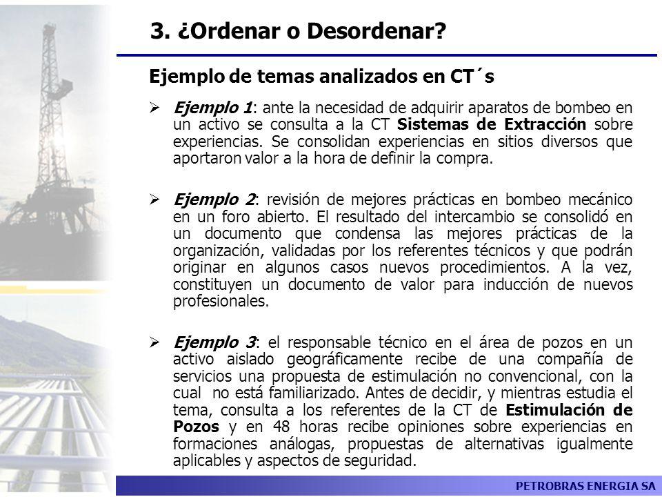 3. ¿Ordenar o Desordenar Ejemplo de temas analizados en CT´s