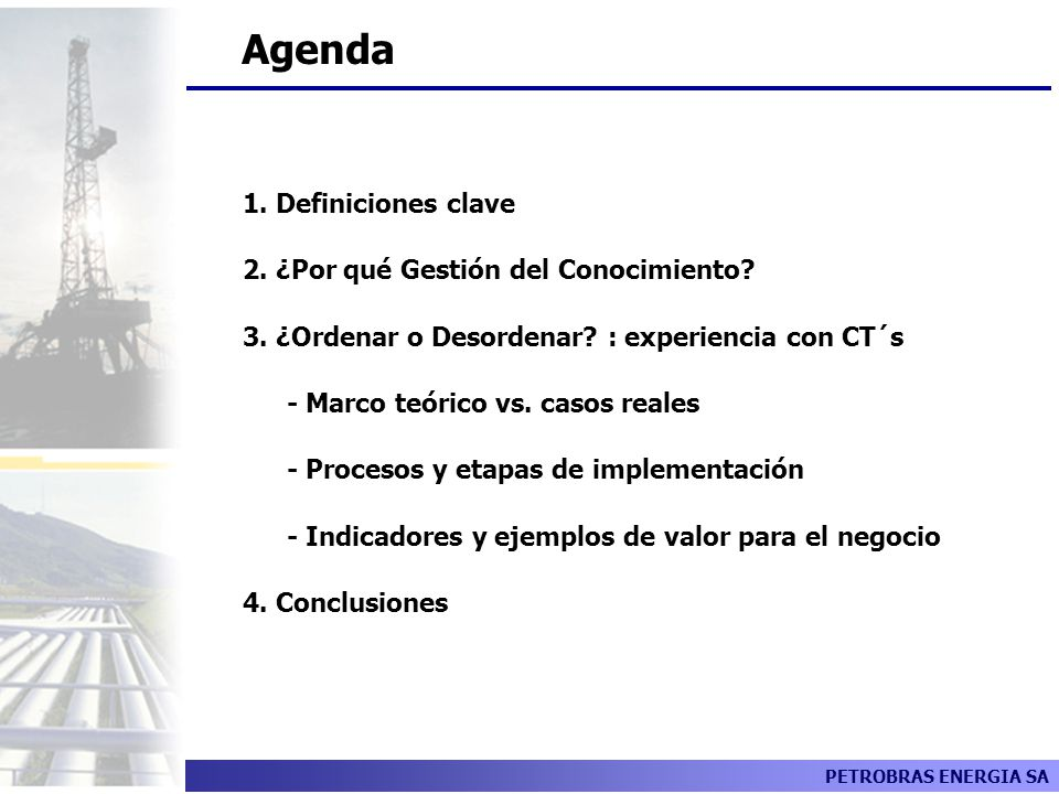 Agenda 1. Definiciones clave 2. ¿Por qué Gestión del Conocimiento