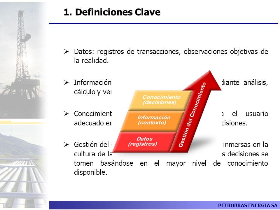 1. Definiciones Clave Datos: registros de transacciones, observaciones objetivas de la realidad.