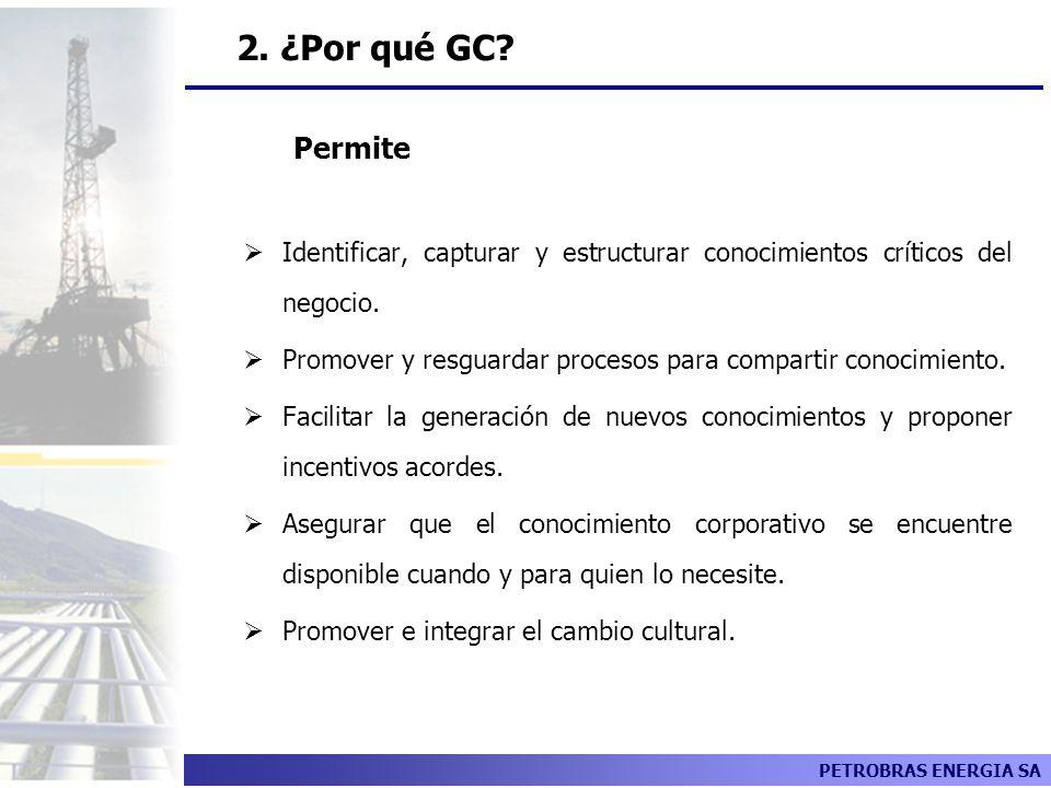 2. ¿Por qué GC GC Permite. Identificar, capturar y estructurar conocimientos críticos del negocio.