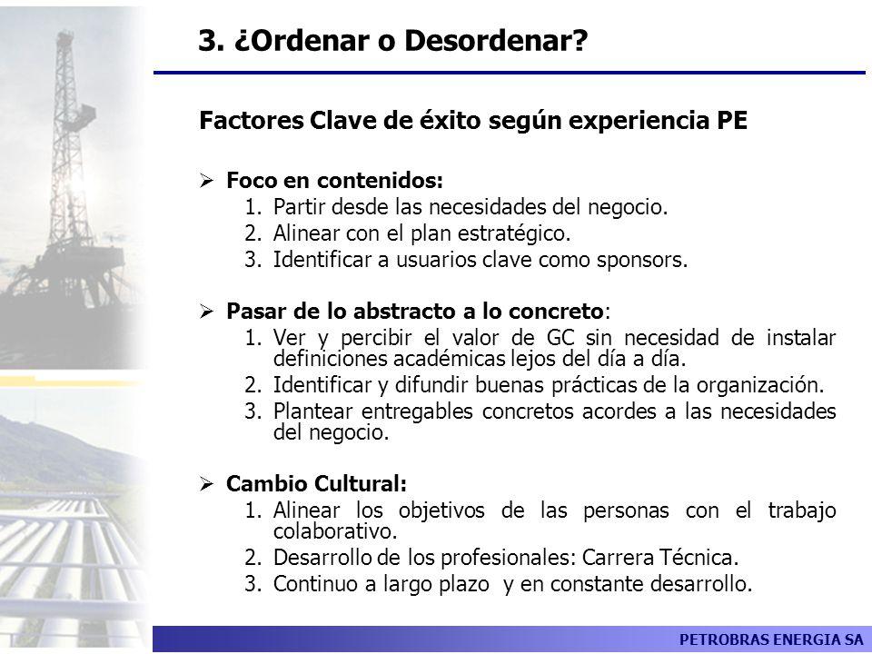 Factores Clave de éxito según experiencia PE
