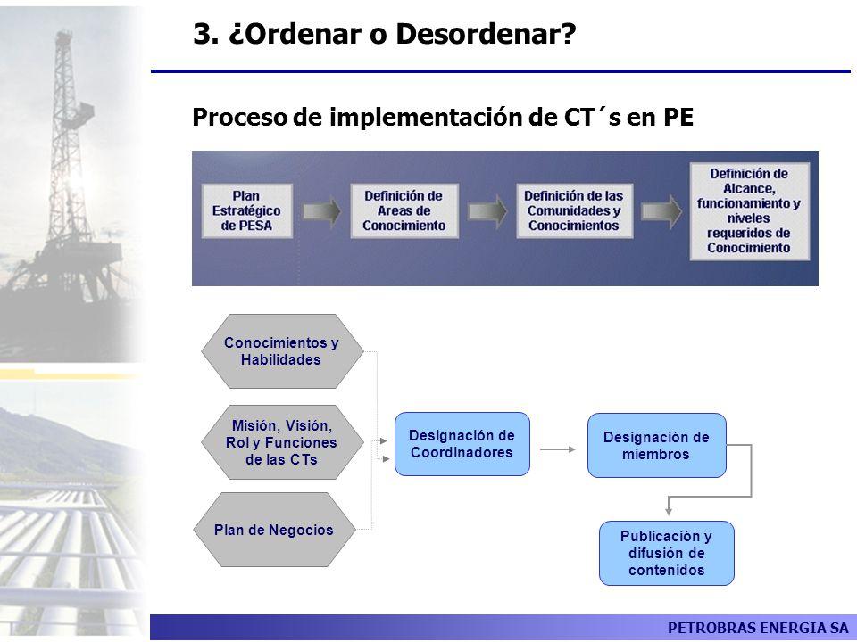 3. ¿Ordenar o Desordenar Proceso de implementación de CT´s en PE
