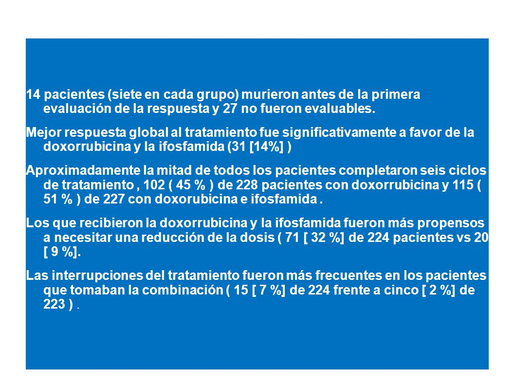 14 pacientes (siete en cada grupo) murieron antes de la primera evaluación de la respuesta y 27 no fueron evaluables.