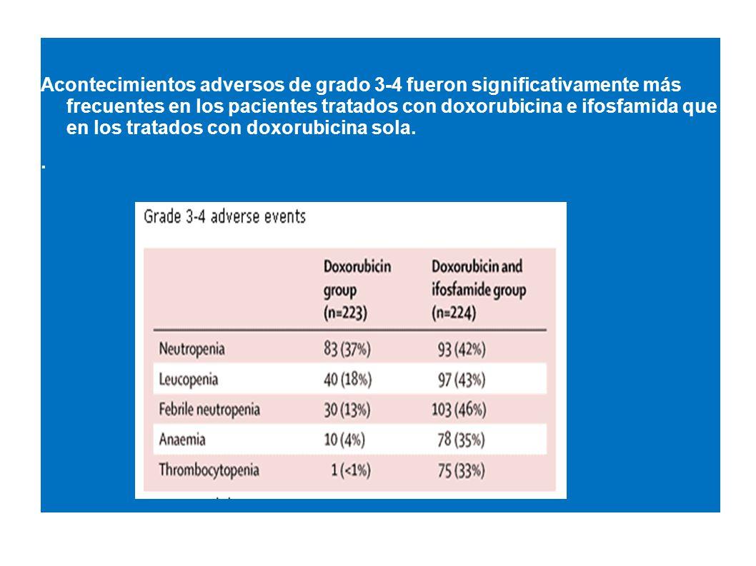Acontecimientos adversos de grado 3-4 fueron significativamente más frecuentes en los pacientes tratados con doxorubicina e ifosfamida que en los tratados con doxorubicina sola.