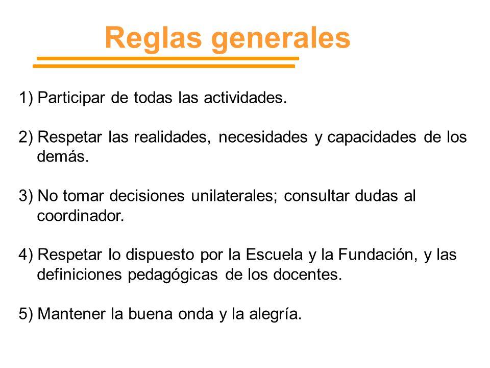Reglas generales 1) Participar de todas las actividades.