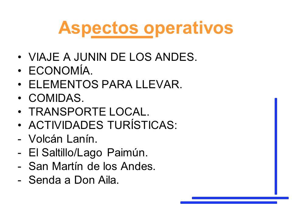 Aspectos operativos VIAJE A JUNIN DE LOS ANDES. ECONOMÍA.