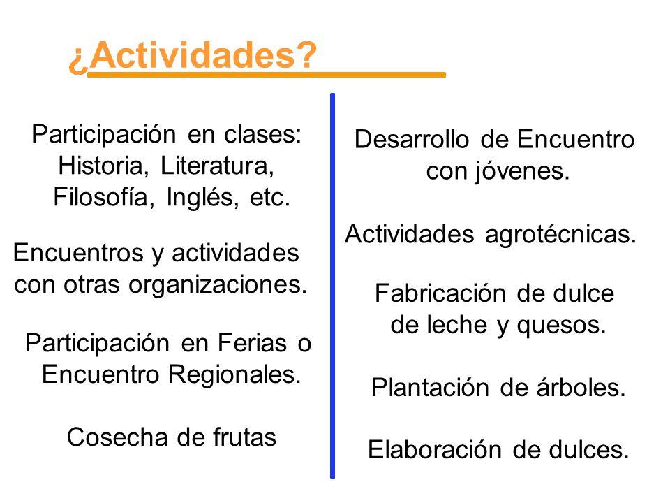 ¿Actividades Desarrollo de Encuentro Participación en clases: