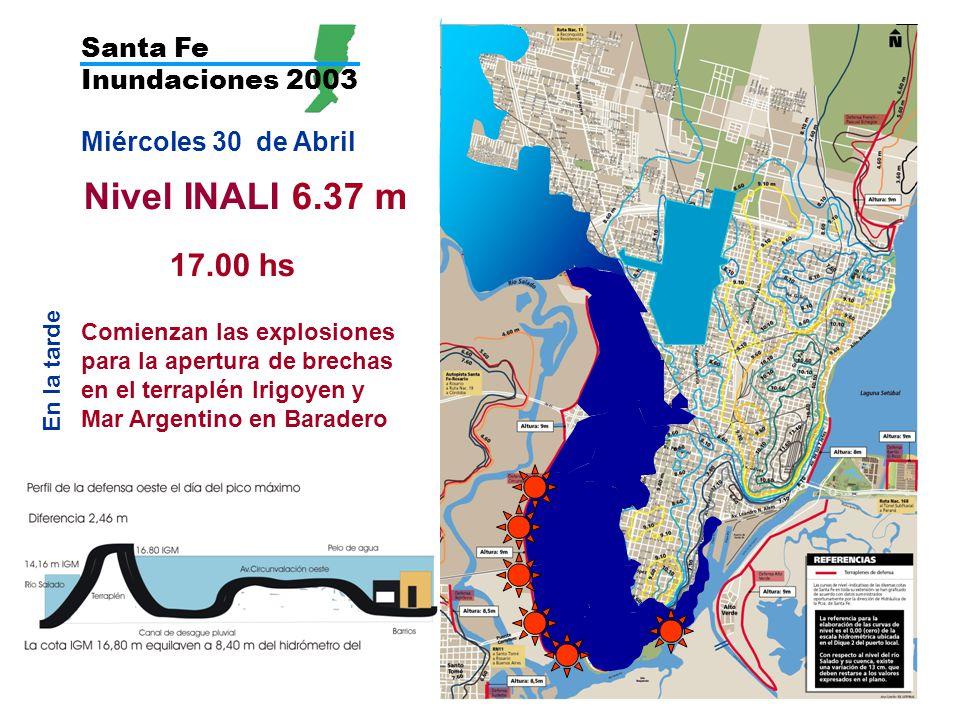 Nivel INALI 6.37 m 17.00 hs Santa Fe Inundaciones 2003