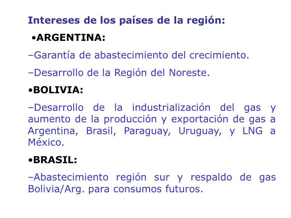 Intereses de los países de la región: