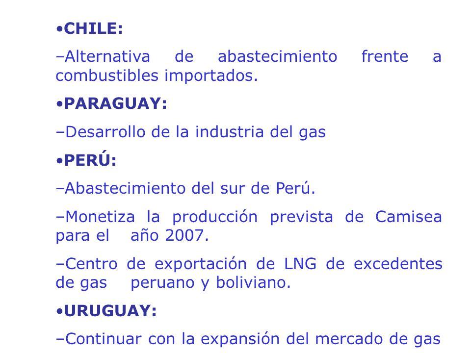 •CHILE: –Alternativa de abastecimiento frente a combustibles importados. •PARAGUAY: –Desarrollo de la industria del gas.