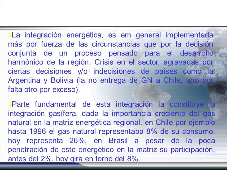 La integración energética, es em general implementada más por fuerza de las circunstancias que por la decisión conjunta de un proceso pensado para el desarrollo harmónico de la región. Crisis en el sector, agravadas por ciertas decisiones y/o indecisiones de países como la Argentina y Bolivia (la no entrega de GN a Chile, uno por falta otro por exceso).