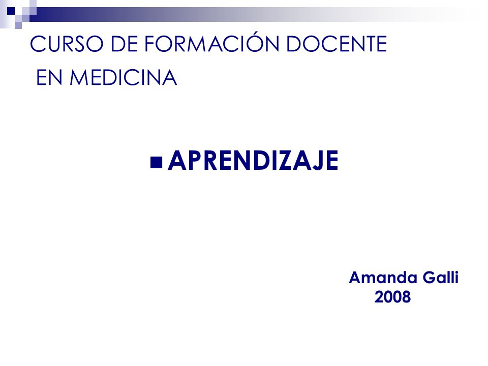 CURSO DE FORMACIÓN DOCENTE EN MEDICINA