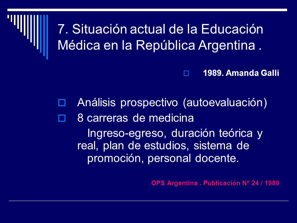 7. Situación actual de la Educación Médica en la República Argentina .
