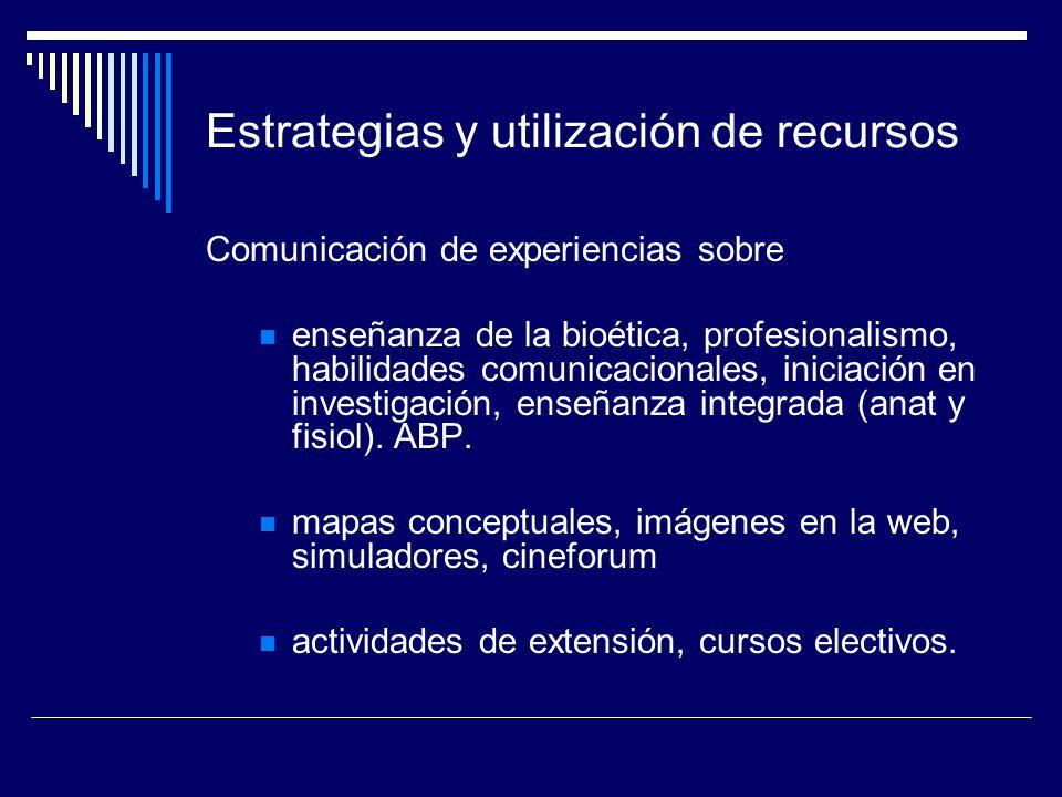 Estrategias y utilización de recursos