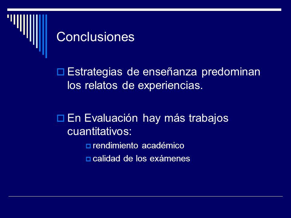 Conclusiones Estrategias de enseñanza predominan los relatos de experiencias. En Evaluación hay más trabajos cuantitativos: