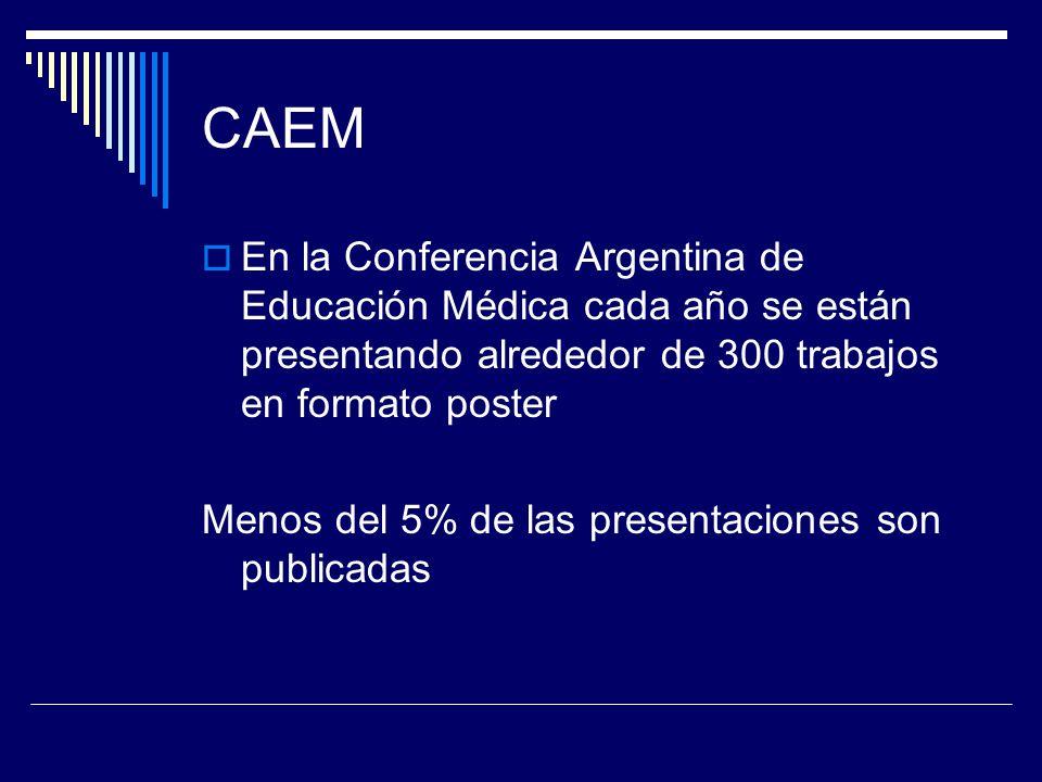 CAEM En la Conferencia Argentina de Educación Médica cada año se están presentando alrededor de 300 trabajos en formato poster.