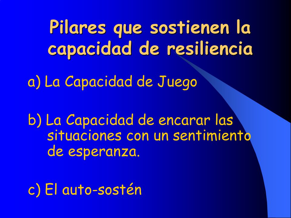 Pilares que sostienen la capacidad de resiliencia