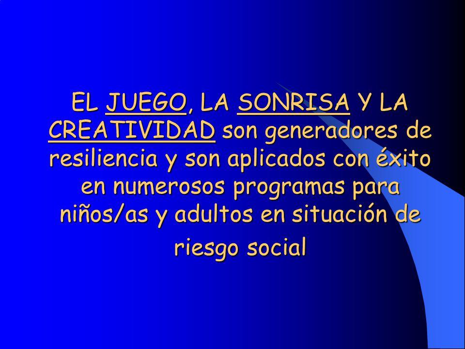 EL JUEGO, LA SONRISA Y LA CREATIVIDAD son generadores de resiliencia y son aplicados con éxito en numerosos programas para niños/as y adultos en situación de riesgo social